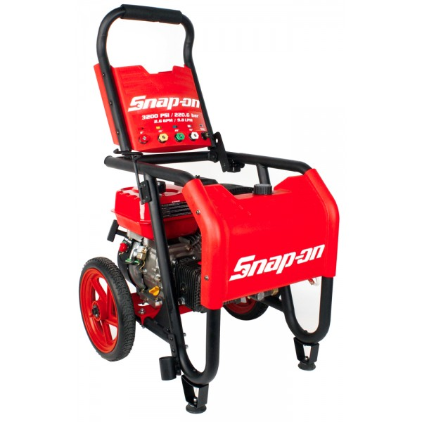 Snap-on 870370 pressure washers combine the most advanced features with the performance and durability expected of Snap-on. This Snap-on™ 3,200 PSI gasoline pressure washer is powered by a durable, high-performance 7HP engine coupled to an industrial triplex pump that flows 2.6 gallons per minute.  Easy pressure output adjustment from 1 to 3,200 PSI, depending on spray nozzle in use.  1 gallon on-board detergent tank.