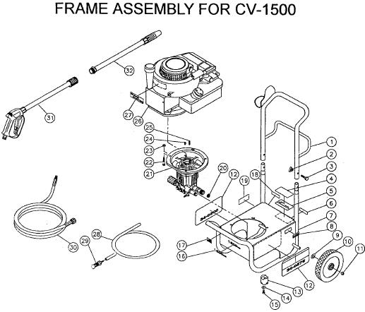 CV-1500 0MBC Pressure washer replacement parts