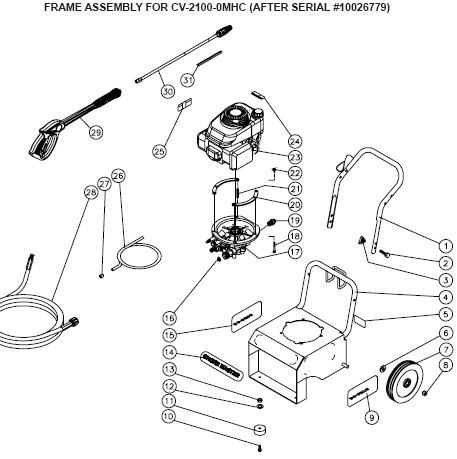 CV-2100-0MHC pressure washer replacement parts, breakdown, pumps & repair kits.