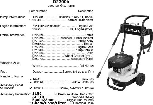 Excell D2300B pressure washer parts