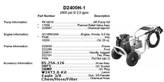 Excell D2400-1 pressure washer parts