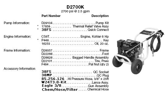 Excell D2700K pressure washer parts