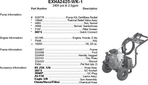 EX-CELL EXHA2425-WK-1 PRESSURE WASHER PARTS