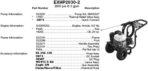 Excell EXHP2630-2 pressure washer parts