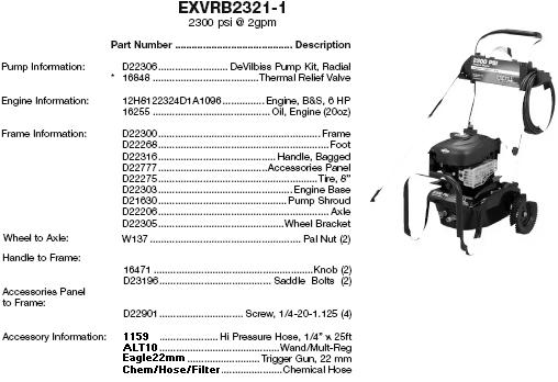 excell exvrb2321 pressure washer replacement parts & upgrade pumps