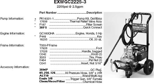 Excell EXWGC2225-3 pressure washer parts