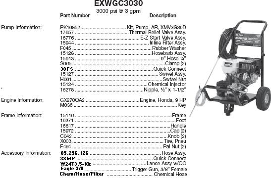 Excell EXWGC3030 pressure washer parts