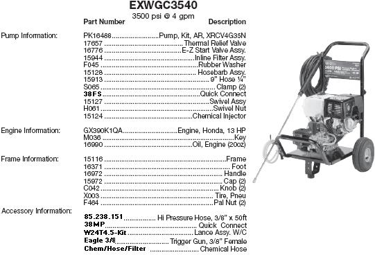 Excell EXWGC3540 pressure washer parts