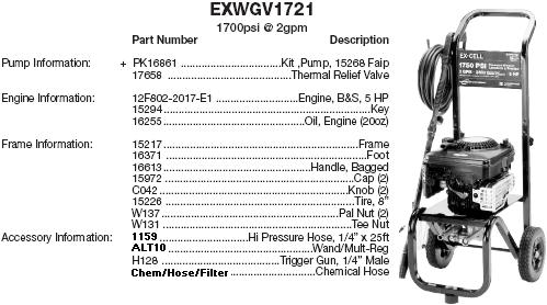 Excell EXWGV1721 pressure washer parts