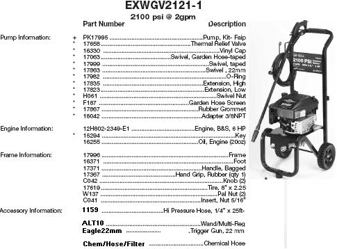EXWGV2121 EXCELL PRESSURE WASHER REPLACEMENT PARTS