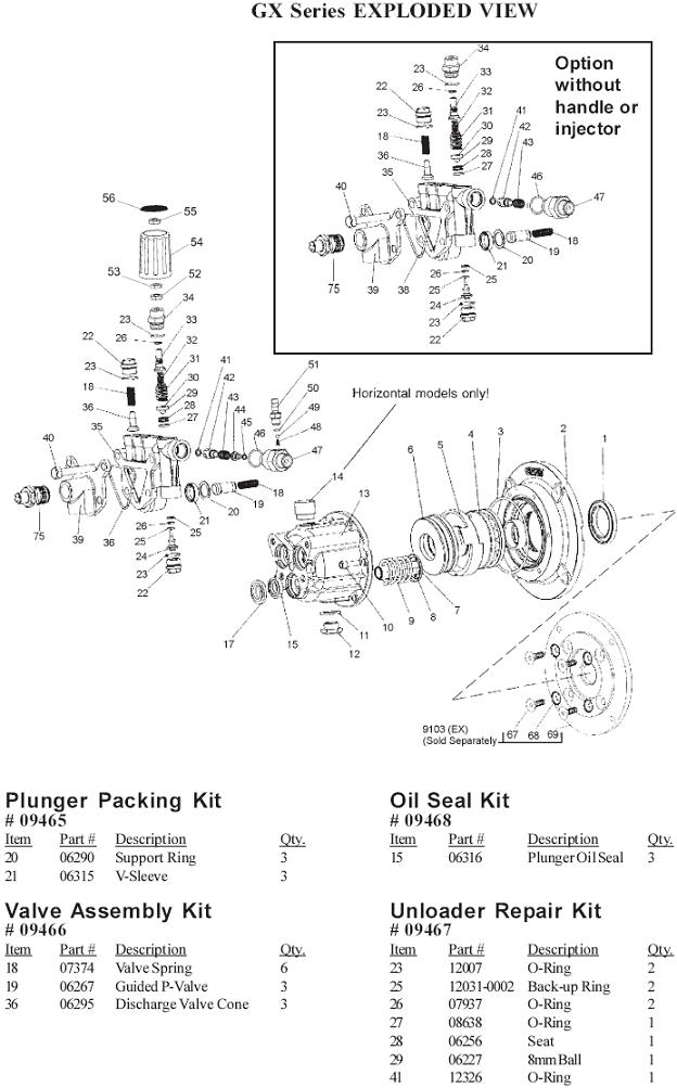 Campbell Hausfeld PW2618 pressure washer pump parts
