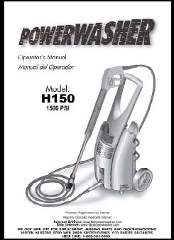 H150 POWER WASHER Replacement Parts & Owners Manual