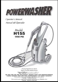H155 POWER WASHER Replacement Parts & Owners Manual