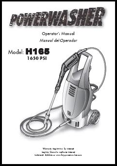 H165 POWER WASHER Replacement Parts & Owners Manual