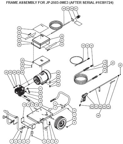 JP-2503-0ME3 Pressure Washer breakdowns Replacement Parts, repair Kits & manual.
