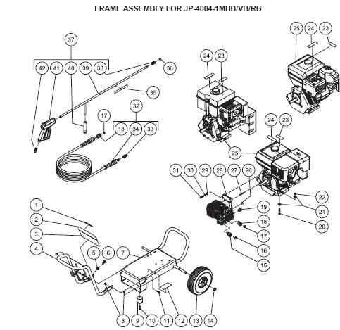 JP-4004-1MHB Pressure Washer replacement Parts, Pumps, repair kits, breakdowns & manuals.