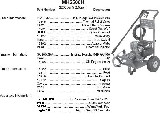 Excell MH5500H pressure washer parts