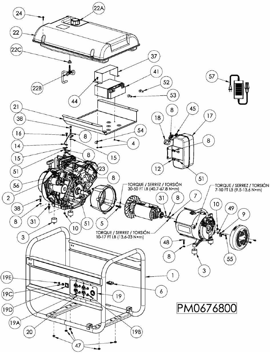 POWERMATE PM0676801 Generator Replacement Parts Breakdown