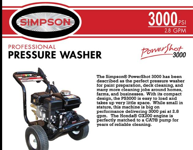 Simpson PowerShot PS3000 Pressure Washer Parts, breakdown & Owners Manual