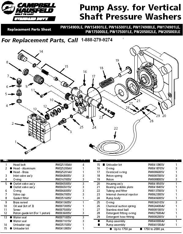Campbell Hausfeld PW17500LE pressure washer pump replacment parts