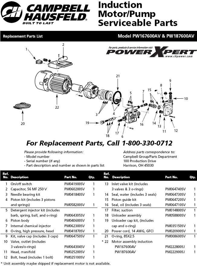 Campbell Hausfeld Pw1676 Parts Diagram For Pump Parts Manual Guide