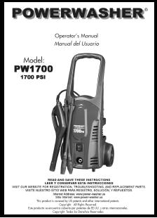 PW1700 Electric Power Washer Replacement Parts & Owners Manual