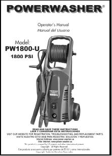 PW1800-U Electric Power Washer Replacement Parts & Owners Manual