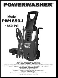 PW1850-I Electric Power Washer Replacement Parts & Owners Manual