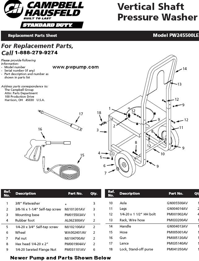 PW245500LE PRESSURE WASHER REPLACEMENT PARTS