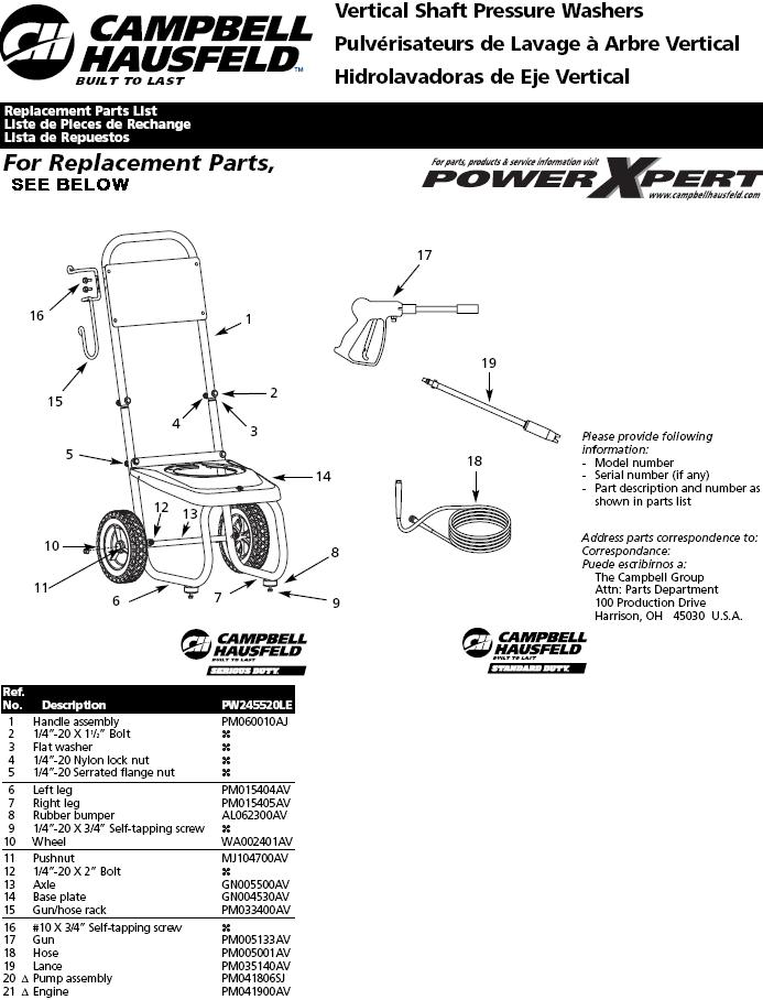 PW245520LE Pressure Washer Replacement Parts