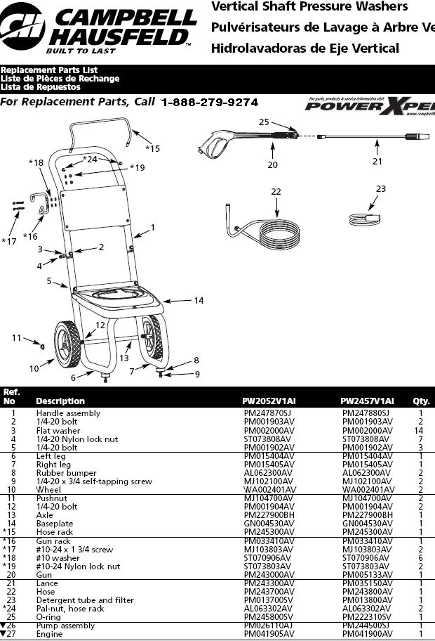 PW2457V1AI PRESSURE WASHER REPLACEMENT PARTS