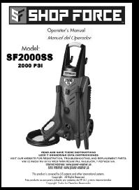 SHOP FORCE SF2000SS Electric Power Washer Replacement Parts & Owners Manual