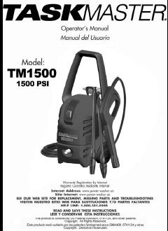 TASKMASTER TM1500 Electric Pressure Washer Replacement Parts & Owners Manual