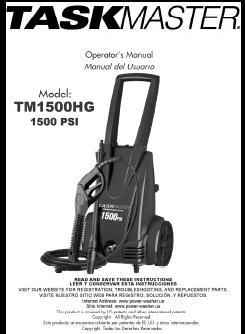 TASKMASTER TM1500HG Electric Pressure Washer Replacement Parts & Owners Manual