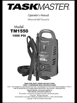 TASKMASTER TM1550 Electric Pressure Washer Replacement Parts & Owners Manual