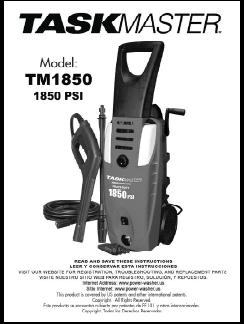 TASKMASTER TM1850 Electric Pressure Washer Replacement Parts & Owners Manual