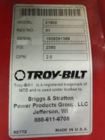 Troy Bilt model number sticker