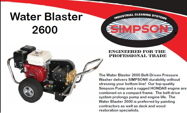 Simpson Water Blaster WB2600 Pressure Washer Parts, breakdown & Owners Manual
