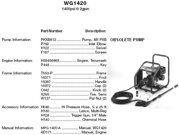 WG1420 PRESSURE WASHER PARTS