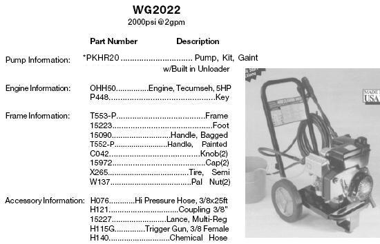 EXCELL DEVILBISS WG2022 GIANT POWER WASHER REPLACEMENT PARTS