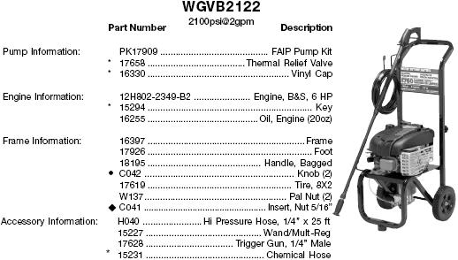 WATER DRIVER WGVB2122 PRESSURE WASHER REPLACEMENT PARTS