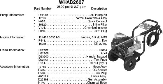 WATER DRIVER WHAB2627 PRESSURE WASHER REPLACEMENT PARTS