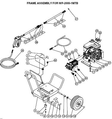 WP-2000-1MTB pressure washer parts & breakdown