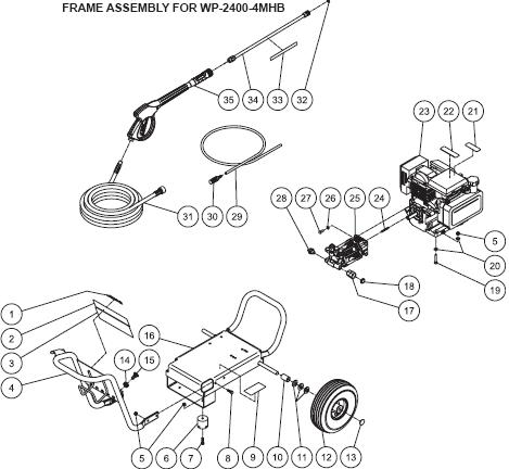 WP-2400-4MHB Parts, pump, repair kit, breakdown & owners manual.