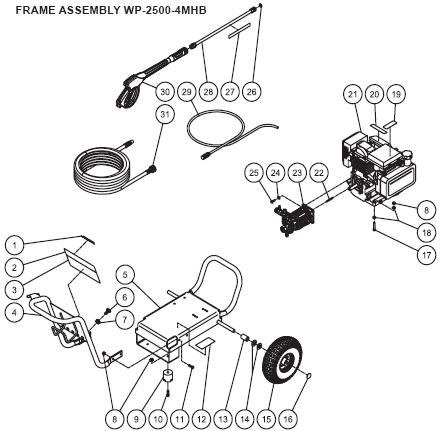WP-2500-4MHB Parts, pump, repair kit, breakdown & owners manual.