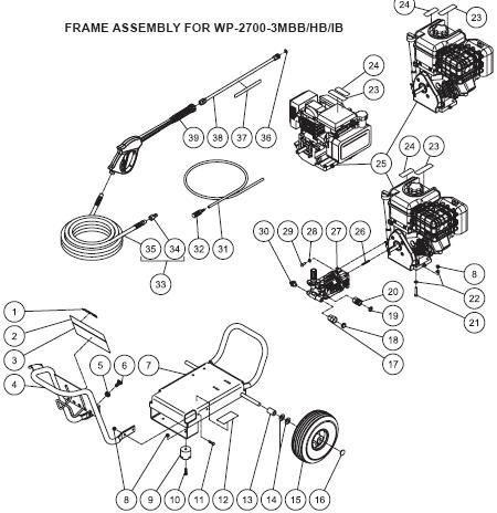 WP-2700-3MBB Parts, pump, repair kit, breakdown.