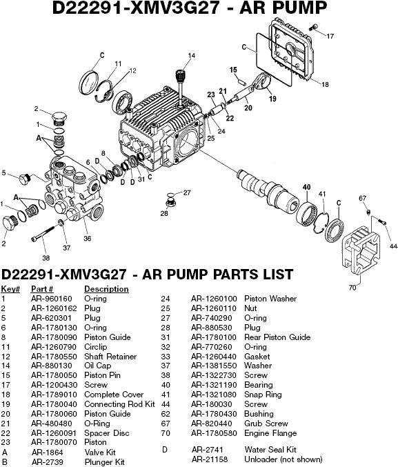 EXCELL DEVILBISS ZR2700 XMV3G2700 PRESSURE WASHER PUMP PARTS