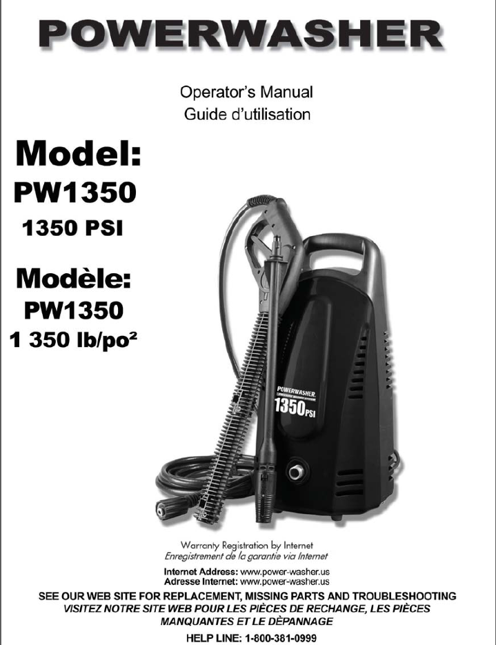 PW1300 Electric Power Washer Replacement Parts & Owners Manual
