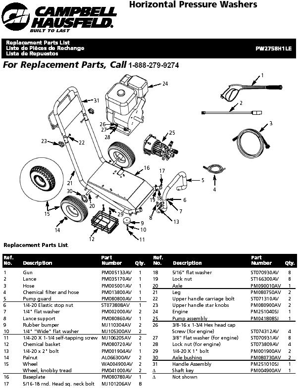 Campbell Hausfeld PW2758H1LE pressure washer replacment parts