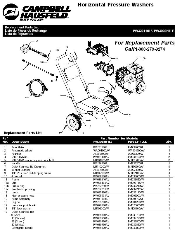 Campbell Hausfeld PW3028H1LE pressure washer replacment parts